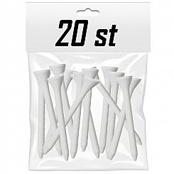 White Wooden Tees - 70mm (20-pack)